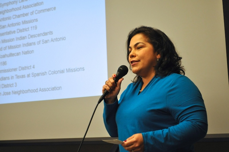 Councilmember Rebecca Viagran (D3) talks about the importance of San Antonio's Missions. Photo by Iris Dimmick.