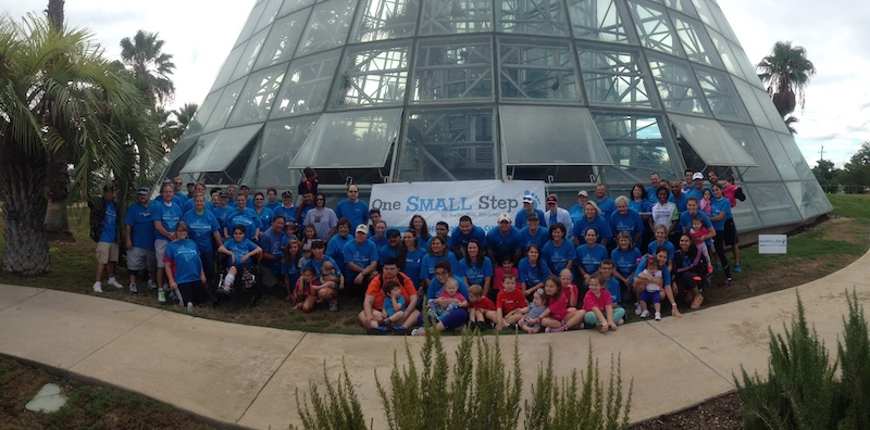 Participants in last year's One Small Step walk for Prader-Willi research at the San Antonio Botanical Garden. Photo by Sergio Viroslav.