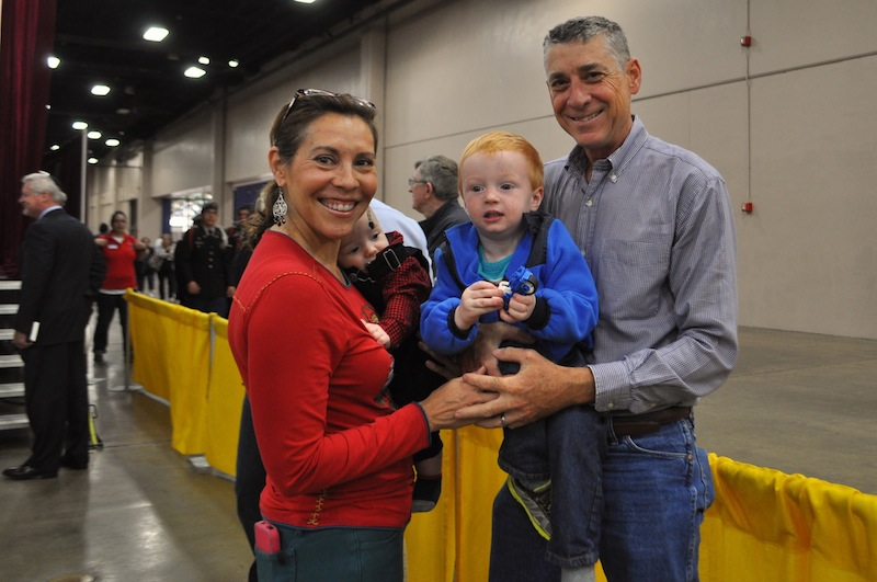 (From left) Councilmember Shirley Gonzales (D5) poses for a photo with her sons, Zachary and Ian, and her husband Kevin Barton. Photo by Iris Dimmick.