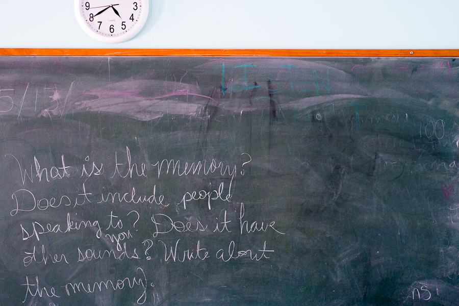 A chalkboard in one of the classrooms at The Circle School. Photo by Scott Ball.