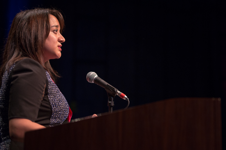 H-E-B Public Affairs Director Dya Campos speaks to the crown. Photo by Scott Ball.