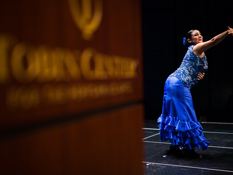Folklorico dancer Annette Flores dances on stage. Photo by Scott Ball.