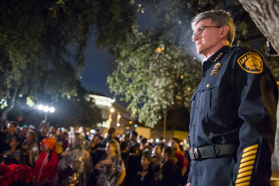 San Antonio Police Chief William McManus overlooks the crowd at Alamo Plaza. Photo by Scott Ball.