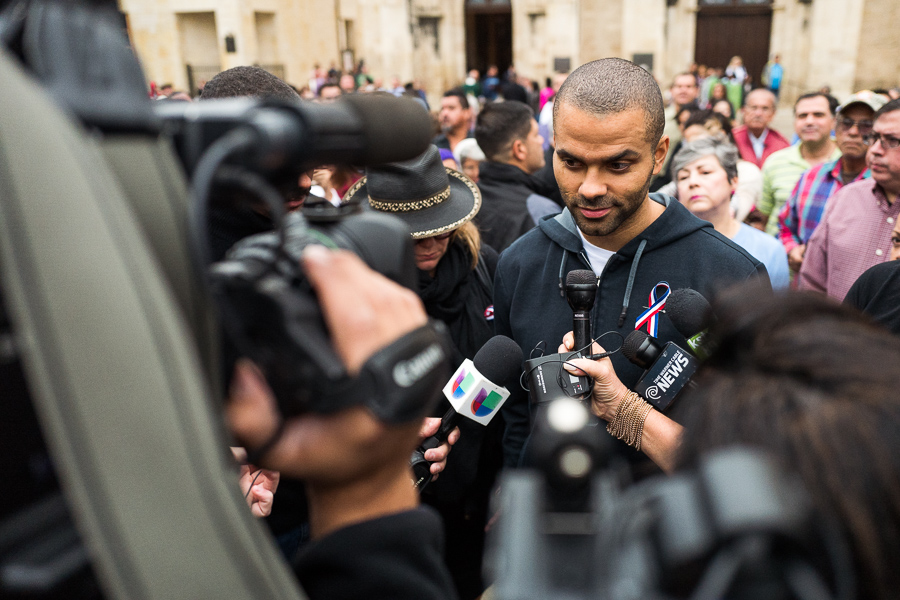 San Antonio Spurs point guard Tony Parker is interviewed. Photo by Scott Ball.