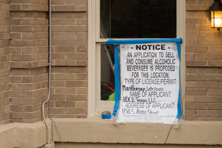 A notice of Frank's application for liquor license is posted near the front  doors. Photo by Scott ball.