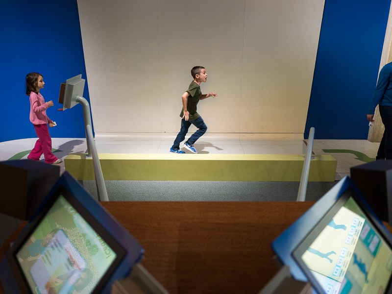 A child runs through an exhibit at the H-E-B Body Adventure at the Witte Museum. Photo by Scott Ball.
