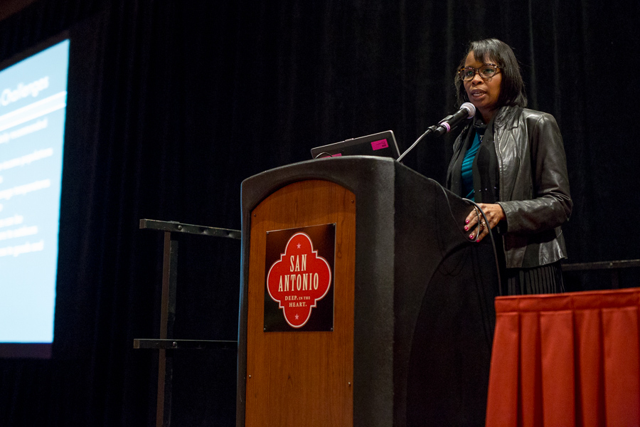 Mayor Ivy Taylor gives a keynote presentation featuring the cities growth at the 2015 Health and The Built Environment Conference. Photo by Scott Ball.