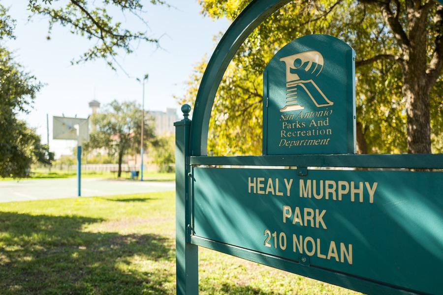 The sign indicating Healy Murphy Park at 210 Nolan Street.
