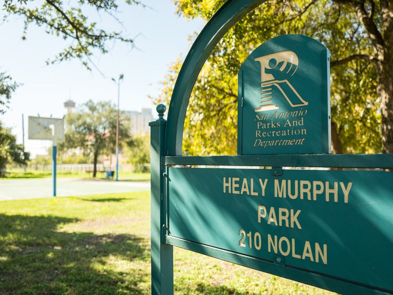 The sign indicating Healy Murphy Park at 210 Nolan Street.