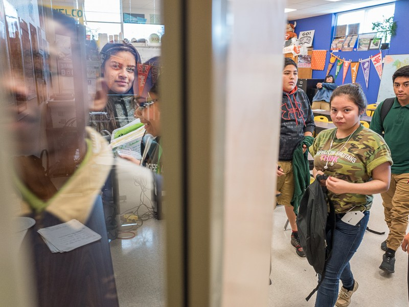 Students leave Coach Reyna's classroom after a discussion with Senator José Menéndez. Photo by Scott Ball.