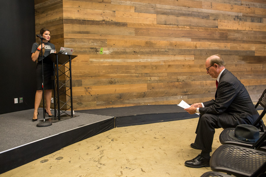 Senior Product Manager at Rackspace Marina Gavito (left) introduces Bexar County Judge Nelson Wolff. Photo by Scott Ball.