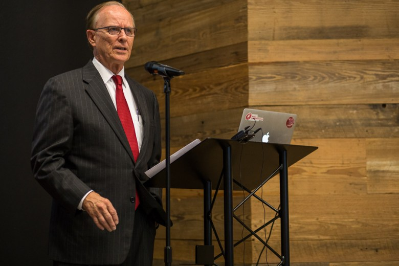 Bexar County Judge Nelson Wolff gives opening remarks at the Tech Fuel press conference. Photo by Scott Ball.