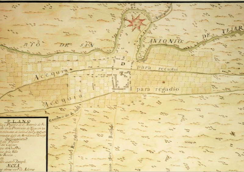 A map of San Antonio and San Pedro Creek. This colored manuscript survey was prepared by Lt. Joseph de Urrutia in 1767.
