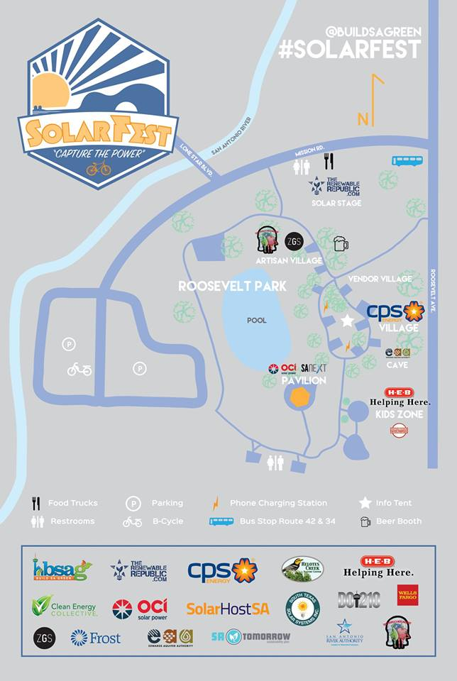 Map of the 2015 Solar Fest activities in Roosevelt Park at 331 Roosevelt Ave.