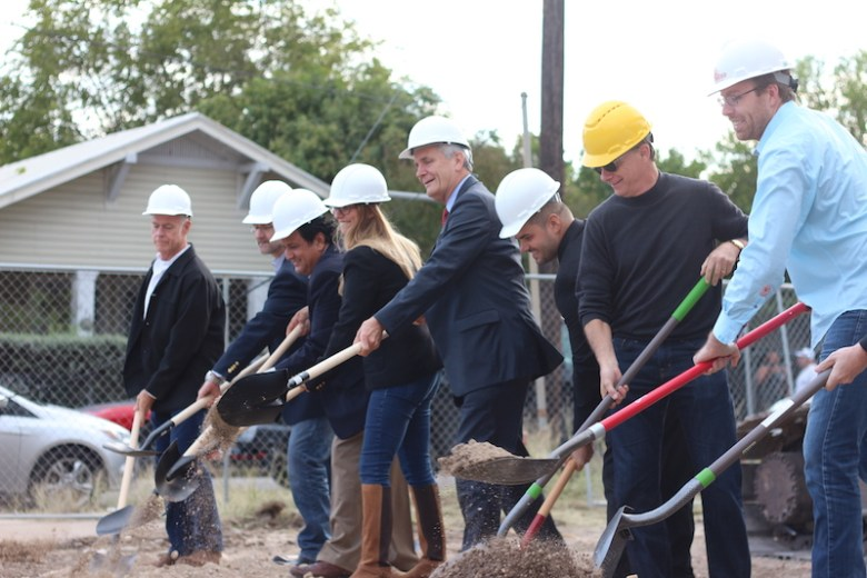 The groundbreaking ceremony took place at the location of the future Sunglo Urban Homes. Photo by Joan Vinson.