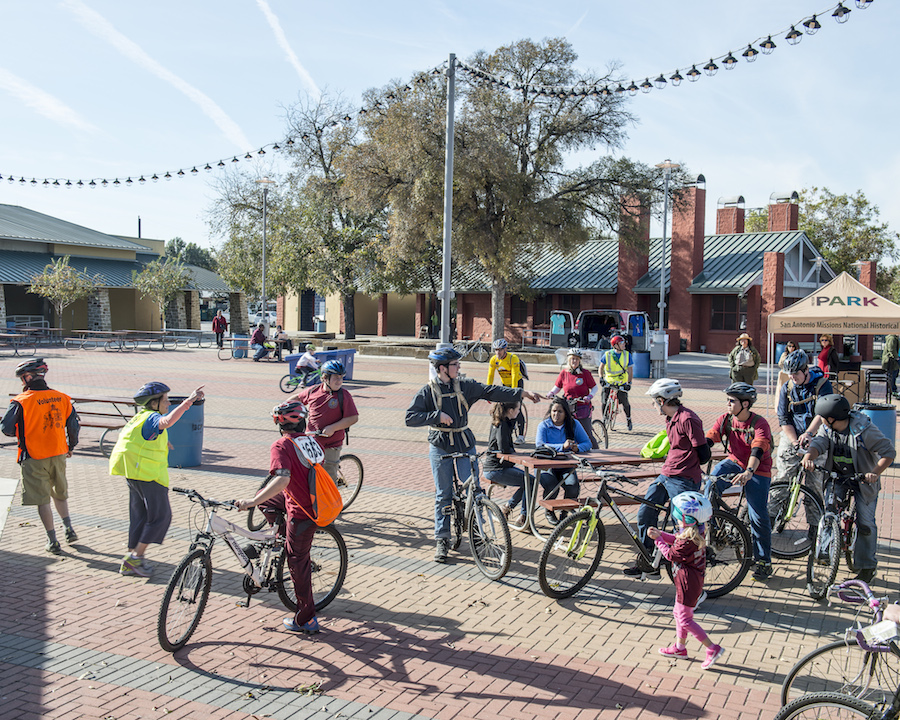 Riders gather together for the second leg of the family ride. Photo by Matthew Busch.