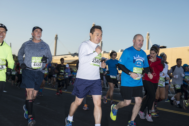 Marathon runners started on their routes as early as 7:30 a.m. Photo by Matthew Busch.