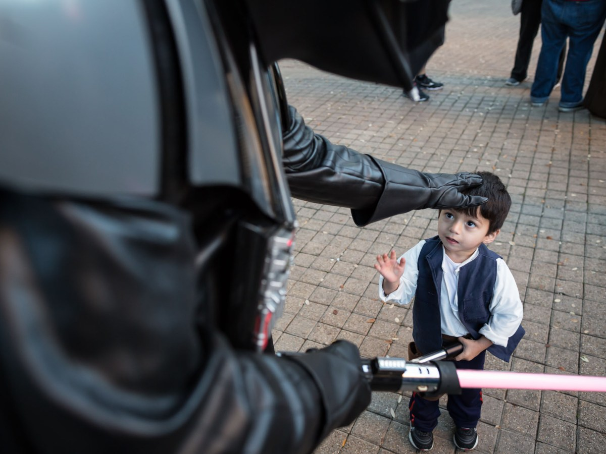 Darth Vader reaches out to Luke Skywalker. Photo by Michael Cirlos.