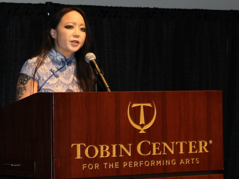 Close up of keynote speaker Candy Chang. Photo by Iris Gonzalez.