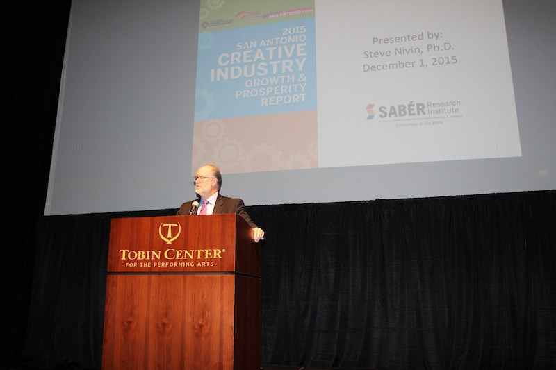 Dr.Steve Nivin presents the results of the 2015 Creative Industry Report to luncheon attendees. Photo by Iris Gonzalez.