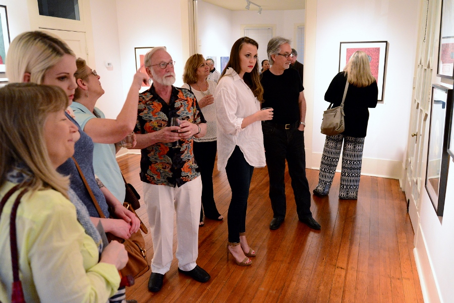 Dennis Olsen discusses his work at REM Gallery, May 2014. Photo by Page Graham.