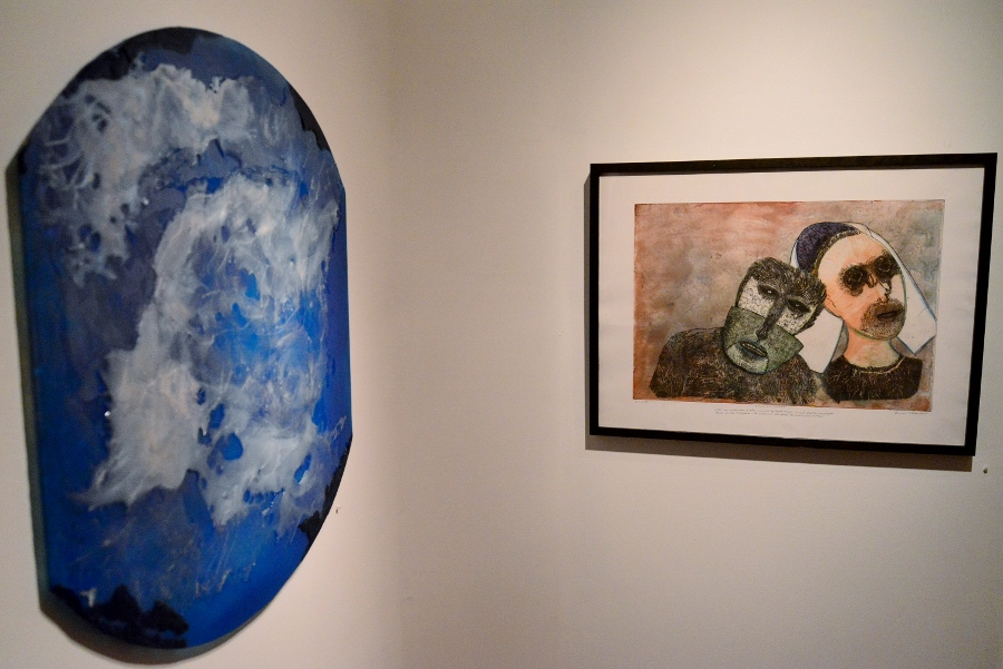 Works by Meredith Dean (left) and Dennis Olsen at REM Gallery in May 2014. Photo by Page Graham.