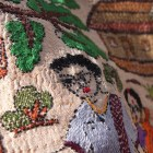 Each miniscule stitch on this Kantha piece was made by hand. SHE employs hundreds of women who work from home, at their own pace, and from their own imaginations.
