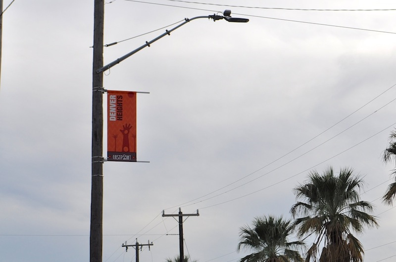 A Denver Heights EastPoint banner on a pole across from Pittman-Sullivan Park. Photo by Iris Dimmick.
