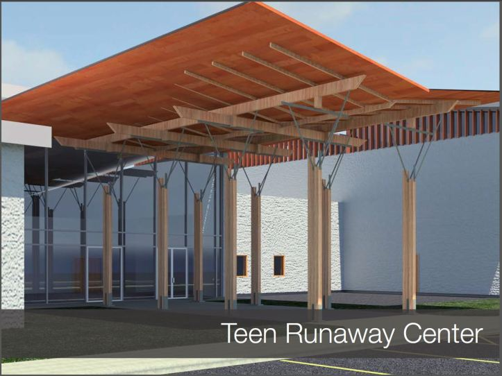 Front entry rendering of the proposed Alamo Youth Center for At Risk Youth. UTSA College of Architecture, Construction and Planning.