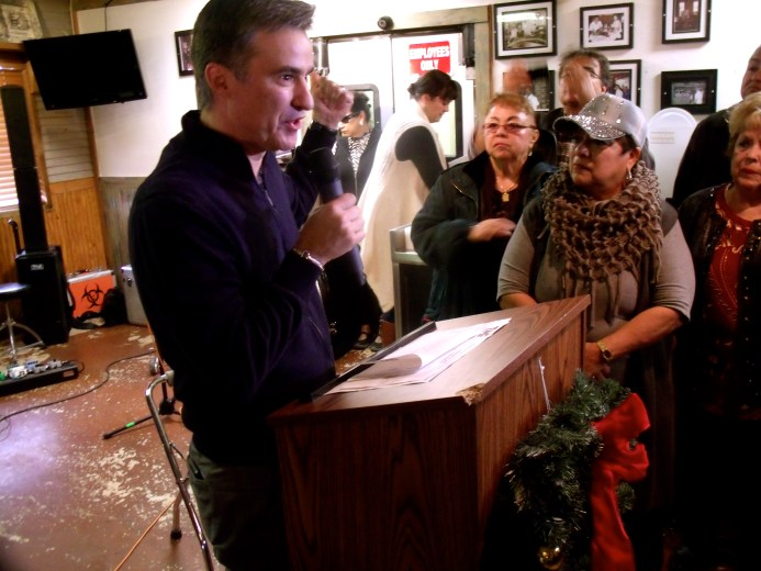 State Rep. Roland Gutierrez (D-119) addresses supporters of Trey Martinez Fischer in a candidacy announcement party at Henry's Puffy Tacos on Sunday, Dec. 13, 2015. Photo by Edmond Ortiz