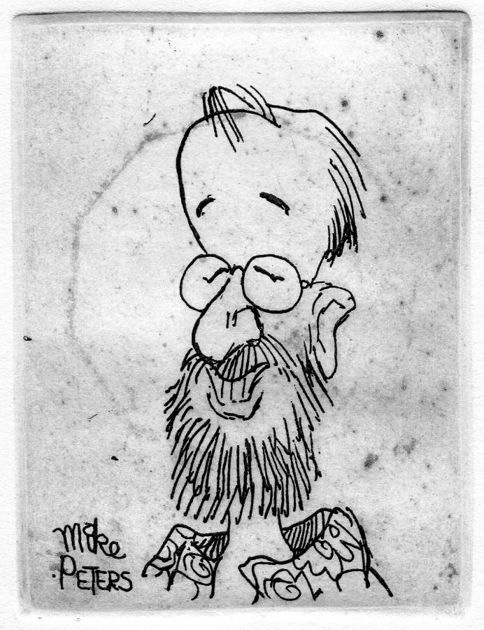 "Sketch of Dennis Olsen by ""Mother Goose & Grimm"" cartoonist Mike Peters. Courtesy image."
