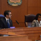 L to R: Councilman Roberto Treviño and Mayor Ivy Taylor discuss the City ordinance for food handlers. Photo by Lea Thompson.