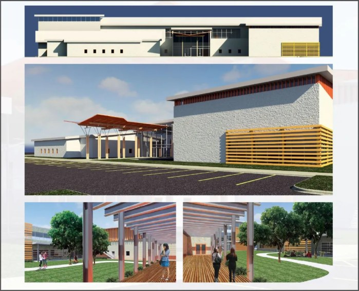 Exterior views of the proposed Alamo Youth Center. UTSA College of Architecture, Construction and Planning.