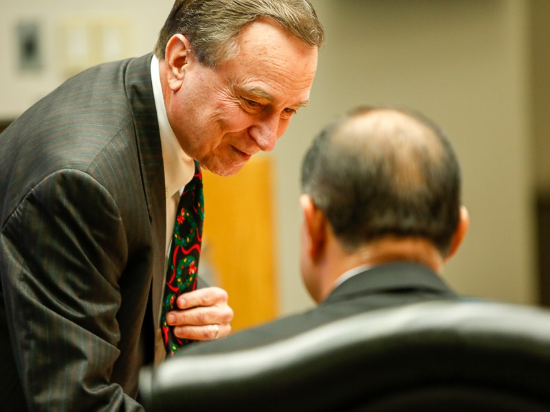 CPS Energy Vice Chair Ed Kelley shows off his holiday themed tie. Photo by Scott Ball.