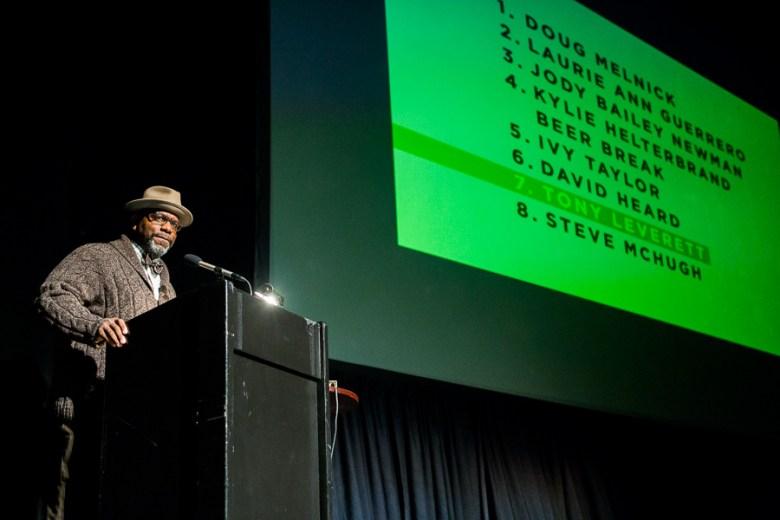 Director of Eastside Promise Tony Leverett gives his talk at PechaKucha2020. Photo by Scott Ball.