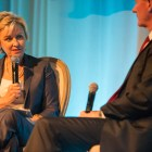 Tina Brown speaks with retired U.S. Navy Admiral and University of Texas Chancellor William McRaven. Photo by Scott Ball.