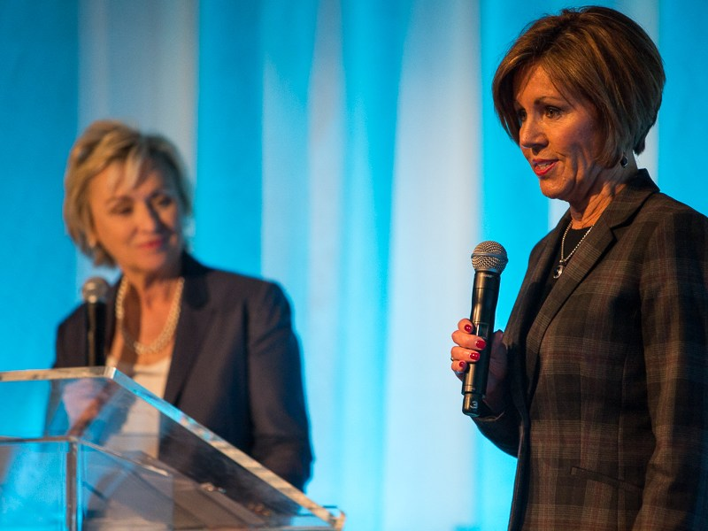 City Manager Sheryl Sculley speaks as Tina Brown looks on. Photo by Scott Ball.