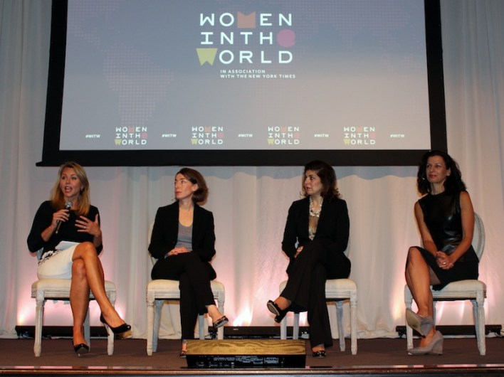 (From left) 60 Minutes Correspondent Lara Logan, Yale World Fellows Emma Sky, former Special Representative to Muslim communities for the U.S. Department of State, Farah Pandith and Juliette Kayyem of Harvard University's Kennedy School of Government. Photo by Iris Gonzalez.