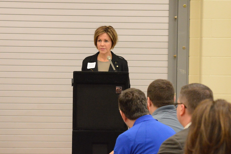 City Manager Sheryl Sculley delivers remarks before the breakout sessions begin. Photo by Lea Thompson.