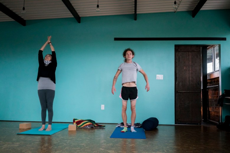 Upstairs above the coffee shop, yoga is held daily. Photo by Kathryn Boyd-Batstone