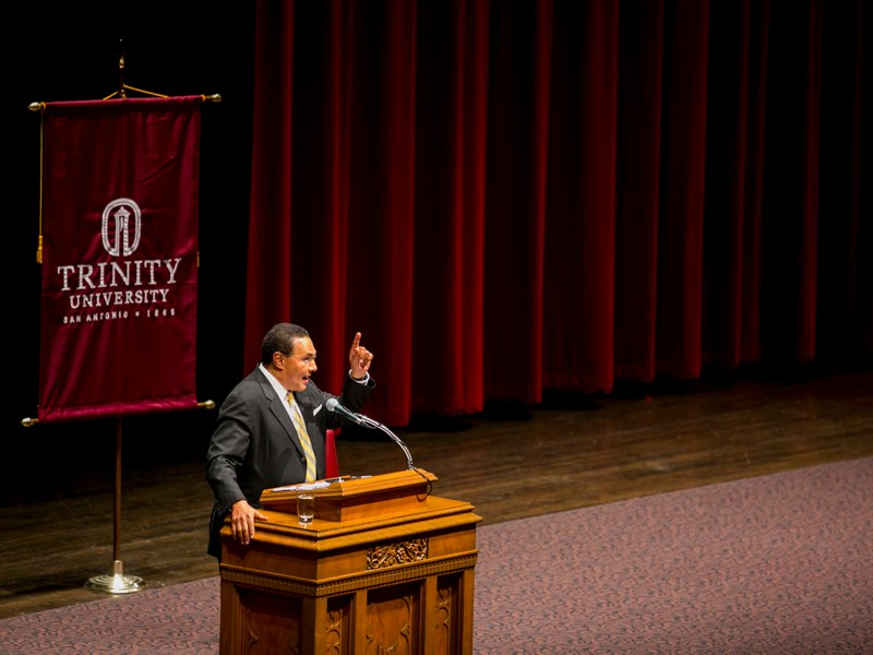 Dr. Freeman Hrabowski spoke at Trinity University as part of the Martin Luther King, Jr. Commemorative lecture. Photo by Kathryn Boyd-Batstone