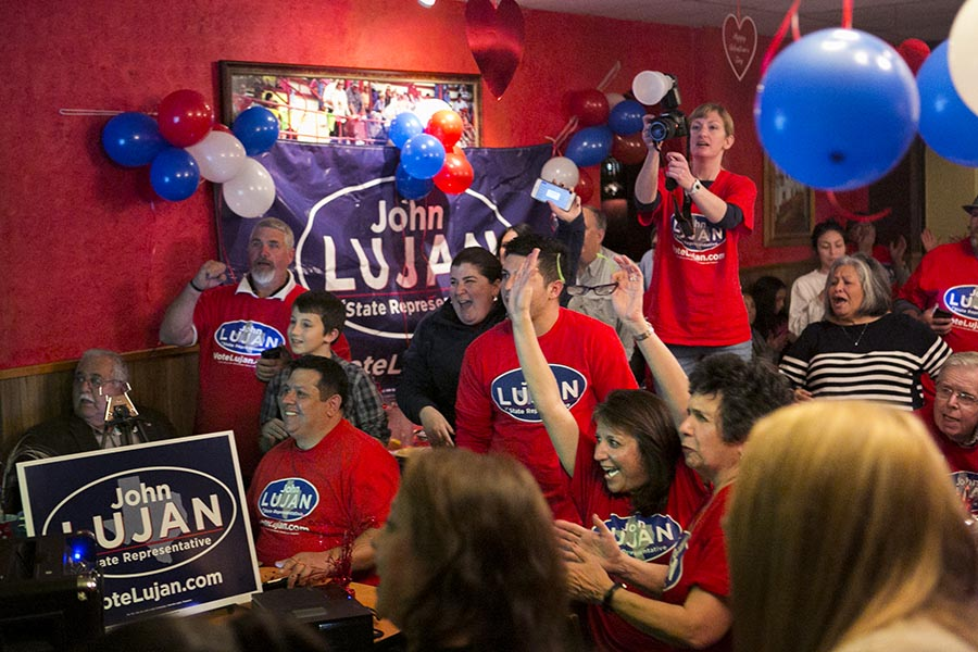 Republican John Lujan supports react to the win against Carlos Uresti. Photo by Kathryn Boyd-Batstone