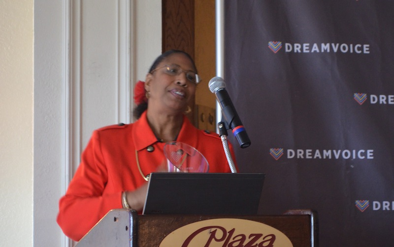 Beverly Watts Davis accepts a Voice Award. Photo by Camille Garcia.