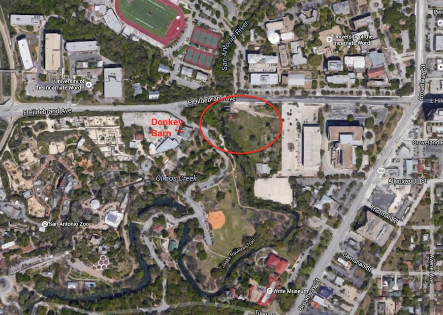 The SAISD-owned 2.6 acres of park property adjacent to the 1020s-era former Donkey Barn. Image via Google Maps.