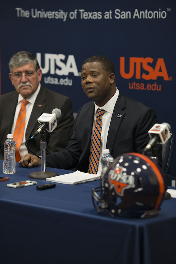 Newly announced UTSA Football Coach Frank Wilson answers questions during his press conference. Photo by Mark McClendon, courtesy of UTSA.