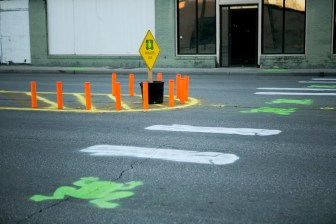 The inspiration for the crosswalk comes from Frogger, a 1980's arcade game. Photo by Kathryn Boyd-Batstone