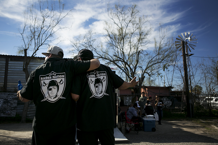 Raiders fans gathered to show the support the Raiders would have here in San Antonio, TX. Photo by Kathryn Boyd-Batstone