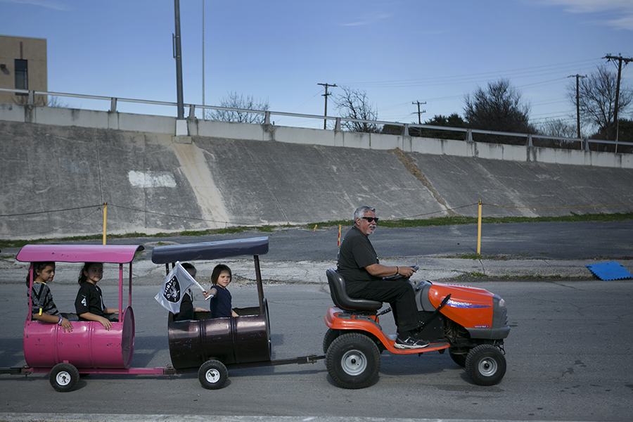 The Raiders rally included a play area for the kids and wagon cart rides. Photo by Kathryn Boyd-Batstone
