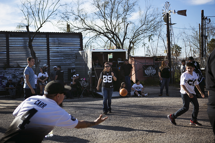 Raiders fans gathered at Sister's Bar, which is located right across the freeway from Alamodome. Photo by Kathryn Boyd-Batstone