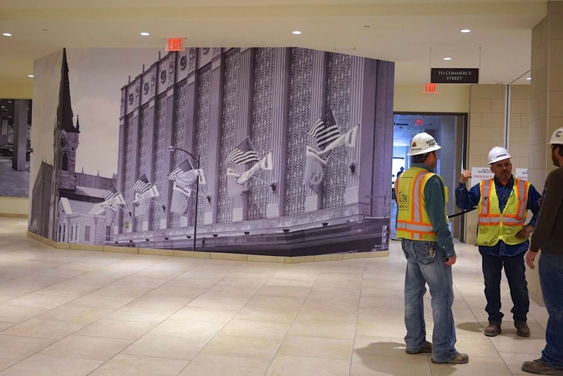 An enlarged photo of the Joske's Building covers a wall inside the renovated structure, now part of Rivercenter Mall. Photo by Iris Dimmick.